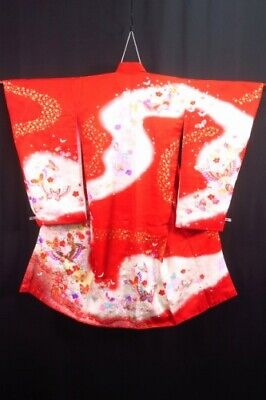 Gorgeous Vintage Japanese Girl's Ceremonial Red/Gold/Multi 'Butterflies' Kimono