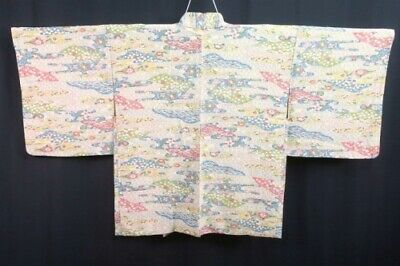 Vintage Japanese Ladies' Cream 'Floral Streams' Crepe Kimono Haori Jacket 10-14