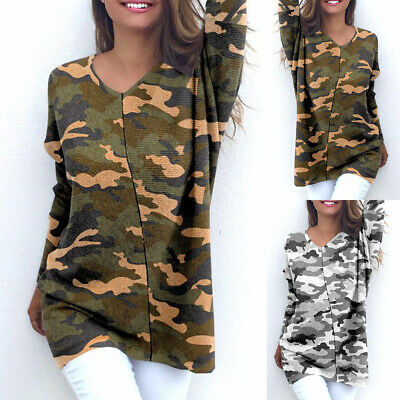 Women Long Sleeve Tunic Tops Dress Ladies Blouse Camo Loose Jersey Pullover Tee