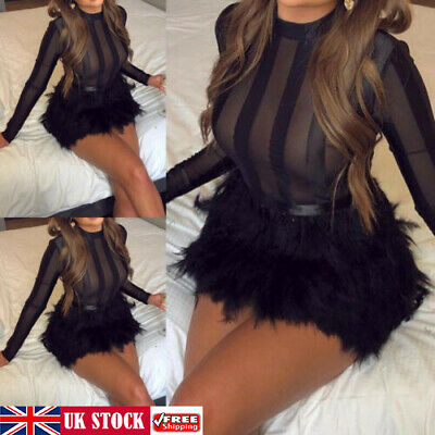 UK Women Ladies Sexy Long Sleeve Bodycon Party Evening Sheer Mesh Mini