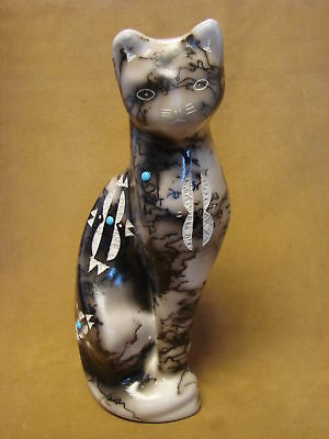 Native American Pottery Standing Cat Sculpture by Vail! Navajo Pot