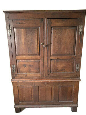 Charming Antique 17th Century English Oak Two Part Livery Cupboard / Wardrobe
