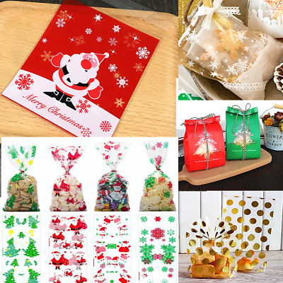 50x Christmas Cello Cellophane Loot Bags Cookie Sweet Biscuit Party Gift Storage