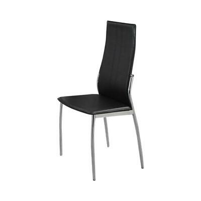 Dining Chair With Metal Frame, Set Of 2,Black And Chrome