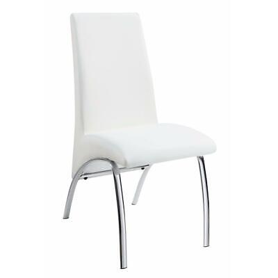 Contemporary Dining Chair, White, Set of 2