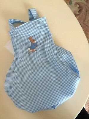 Blue Gingham Baby Boy Romper Suit Christmas Gift Strap Style