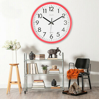 WO_ Numbers Round Mute Wall Clock Office Home Wall Hanging Decoration Striking