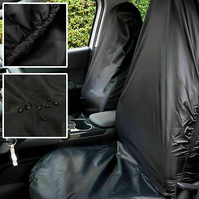 Twin Pack of Universal Car Front Seat Covers Black Waterproof Nylon / PVC Cover