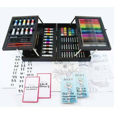 128 Piece Home Or On The Go Art 101 All Media Artist Set In Wooden Carrying Case