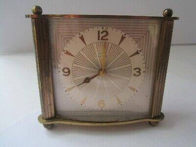 Beautiful Vintage Smiths Empire clock deco brass 1950,s mantel travel slim small