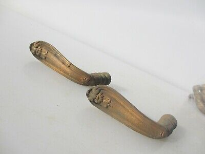 Victorian French Brass Lever Door Handles Knobs Antique Old Plates Vintage