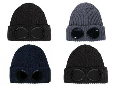 CP Company Goggle Beanie Hat BLACK  Navy Blue and Grey Removable Goggles UK