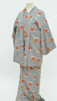 FAB Japanese Lady's Grey/Orange Wool 'Abstract Camellia' Kimono & Jacket Set M/L