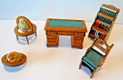 Vintage~Doll House Wood Furniture~Library~Folding~Chair~Steps~Shelf~Desk~Globe