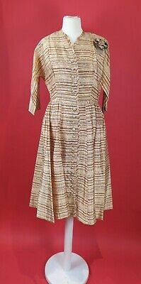 Late 1940s brown and orange striped Sized to Height shirtwaist dress w/ corsage