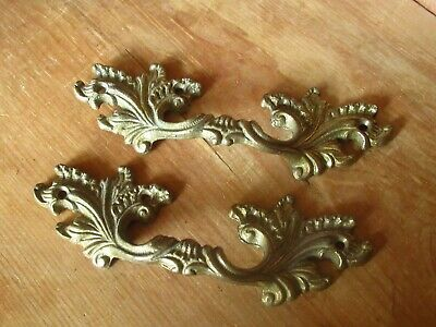 2 Ornate Vintage French Rococo Style Gilt Brass Metal Drawer Handles Pulls
