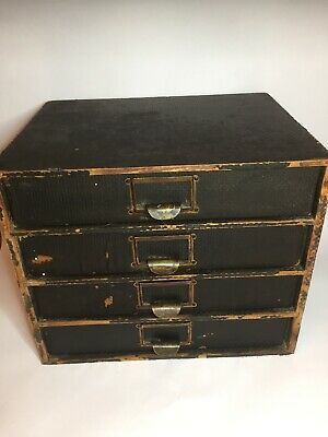 Vintage Wooden Stationery Cabinet C1930 Brass Handles Pine Carcass