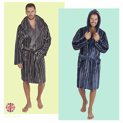 Luxury Mens Hooded Bathrobes Cosy Super Soft Fleece Striped Gents Dressing Gowns