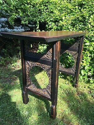 Fine Pierced And Carved Chinese Altar Table Gold Painted & Ebonised with Elm Top