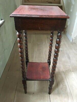 Victorian Arts and Crafts Bobbin Turned Mahogany Wine Table Plant Stand Torchere