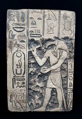 Beautiful Egyptian Antique Relief Craft Thoth Ibis God Plaque Hieroglyphic Wall