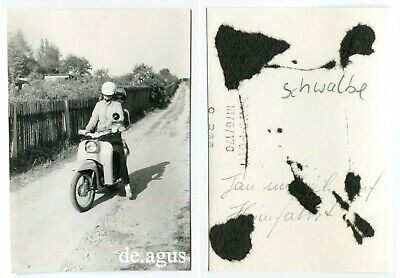 Vintage Photo circa 1970s two young Women on SIMSON SCHWALBE Motorbike