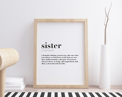 Sister Dictionary Definition Meaning Wall Art Print Poster Home Decor Gift Idea