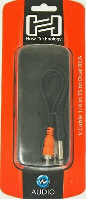 """NEW Hosa CYR-103 1//4/"""" TS to Dual RCA Y Cable 3M CABLE PERFECT CIRCUIT"""