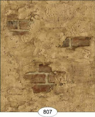 Dollhouse Wallpaper Weathered Brown Plastered Brick