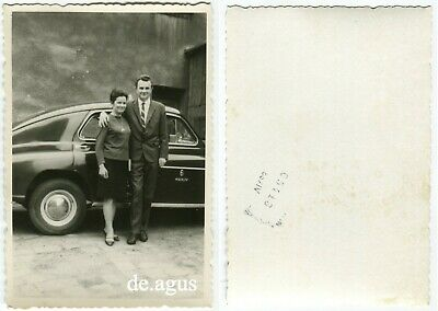 Vintage  Photo circa 1960s lovely young Couple hugging,classic Car