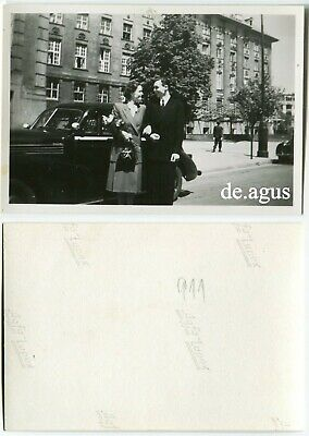 Vintage Photo circa 1950s young Couple smiling,classic car
