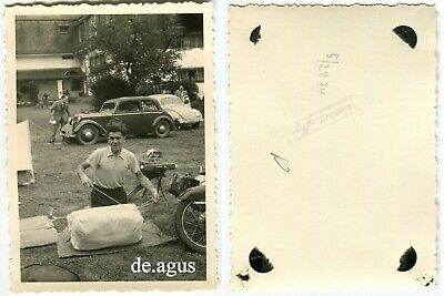 Vintage Photo circa 1960s young man,cars,vw beetle bug volkswagen