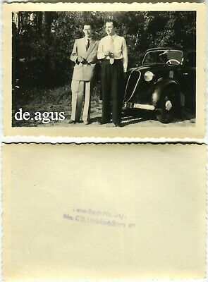 Vintage Photo circa 1950s two young Men in suits,Car