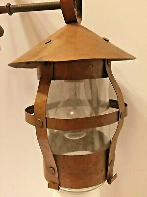 ANTIQUE ARTS CRAFTS MISSION  Carriage Lamp SOLID COPPER