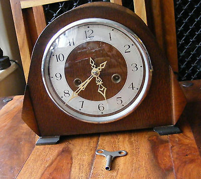 Antique Vintage Dupontic Enfield Mantle Mantel Clock Wooden Case Art Deco Style