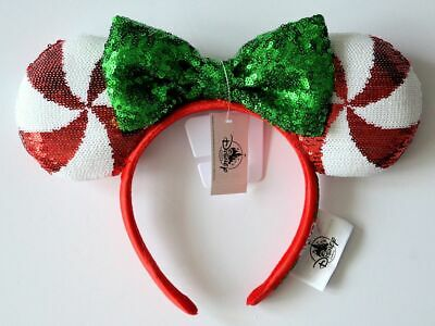 Disney Parks 2019 Christmas Holiday Peppermint Minnie Mouse Ears Headband NWT