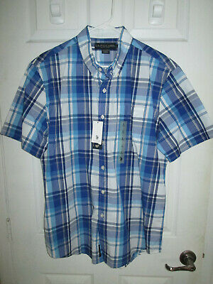US Polo Assn - Large Short Sleeve Button Up Shirt, Blue and White Plaid - NWT