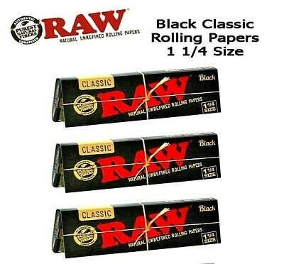 3 Packs Raw Classic Black 1.25 1 1/4 Natural Unrefined Rolling Papers BEST PRICE