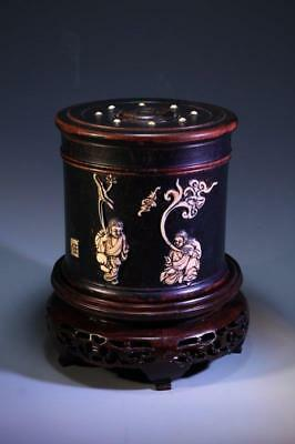 Chinese Zitan Carved Cosmetic Box w/ Inset,