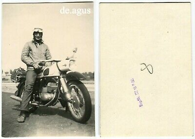 Vintage Photo circa 1970s young Man sitting on Motorbike