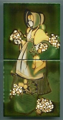 """Screen printed 2x6""""sq tile panel by Mary Liebermann, South Africa, 1976"""