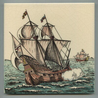 """Transfer printed & hand tinted 6""""sq tile by John Mead for Dorincourt, 1976"""