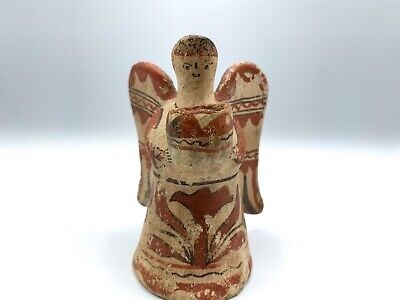 Vintage Rustic Mexican Clay Pottery Angel Figure Antique Pre Columbian Native