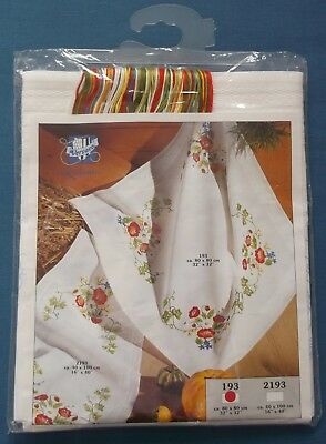 Vervaco 100% Cotton Tablecloth Pretty Flowers Embroidery Kit Unused