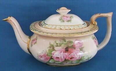 Antique Vintage Pink English Roses Mint Green Victorian Edwardian China Teapot