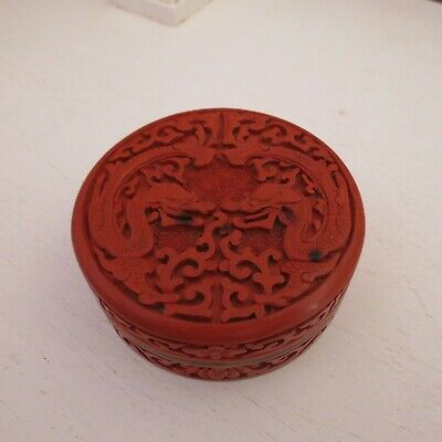 Vintage Red cinnabar & brass box with blue enamel carved dragons on lid