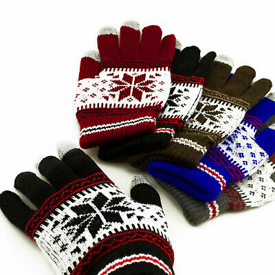 BULK Warm Winter Knitted Snowflake Touch Screen Gloves Cold Winter Wear Apparel