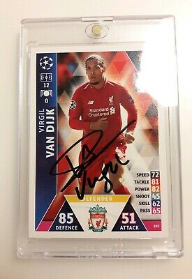 Topps Match Attax Virgil Van Dijk Signed Champions League Card - Encased