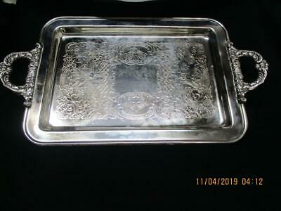 Leonard EP SILVERPLATED Marked Lion Footed Rectangle Tray W/Handles ITALY