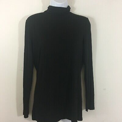 H & M Womens Turtleneck Top Sz L Black Lightweight Career Casual Classic QA20